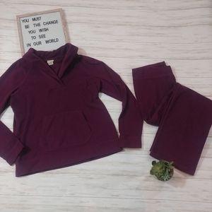 L.l Bean Sweatsuit Cowl Neck Top & Pants Set